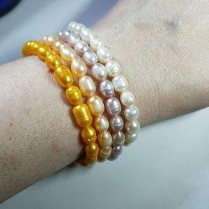 Four Genuine Pearl Stretch Bracelets
